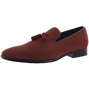 STACY ADAMS Mens Tazewell Slip On Memory Foam Smoking Loafers Red 9 Medium (D)
