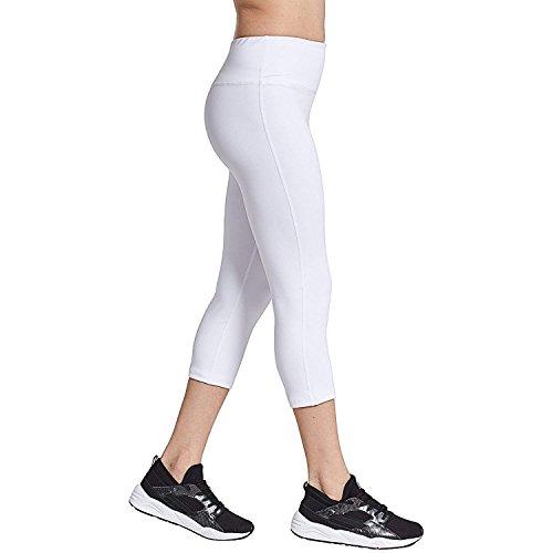 COOLOMG Damen Yoga Capris 3/4 Hosen Kompression Leggings Sport Trainingshose Weiß M