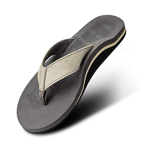 Men Sandals Flip Flop with Orthotic Arch Support Athletic Slide Sandals for Men with Soft Cushion Footbed Khaki