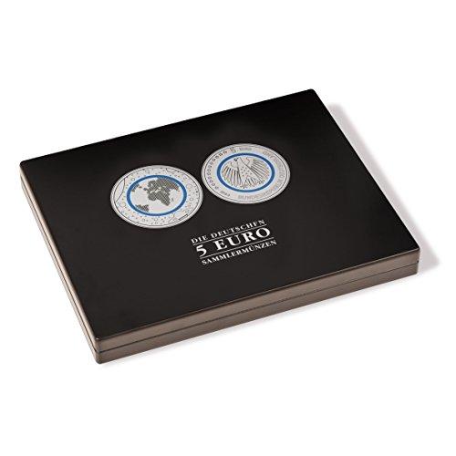 Leuchtturm 355931 Münzkassette für 30 deutsche 5-Euro-Sammler-Münzen in Kapseln | z.B. Planet Erde oder Klimazonen der Erde Edition| schwarz