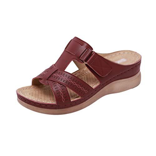 Yijinstyle Sandalias Casuales de Las Mujeres Cuñas de Verano Zapatos de Caminar Anchos (Rojo Burdeos, 44 EU)