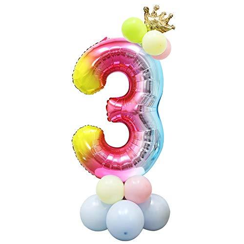 Foil Globo Número Arcoiris 24 Piezas, Gigante Numeros 40 Pulgadas Grande Globos para Cumpleaños, La Boda Aniversario, Fiesta y Hogar Decoración, Adultos y Niños (Número 3)