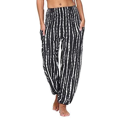 Pantalones de playa para mujer, estilo bohemio, largos, holgados, para verano, ligeros, informales, para la playa, estilo bohemio, corte holgado, pantalones de tela, 18-negro, L
