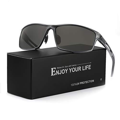 Deportivas Gafas De Sol Hombre Polarizadas Anti Reflectante Ultraligero Metal Protección 100% UVA UVB (Gris/Gris)