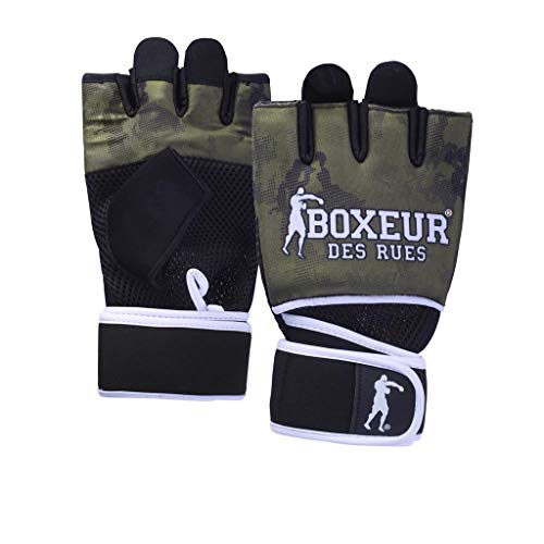 BOXEUR DES RUES BXT-5222 Guantes de Neopreno de fit-Boxing con Inserciones de Malla, Adultos Unisex, Verde Militar, S-M