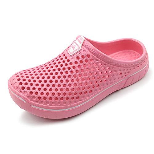 Amoji Garden Clogs Shoes Sandals House Slippers Home Room Shoes Indoor Outdoor Shower Shoe Sport Kids Child Children Baby Boys Girls (Toddler/Little Kid/Big Kid) Pink 1-2 M US Little Kid -  KID161pink33-JPa