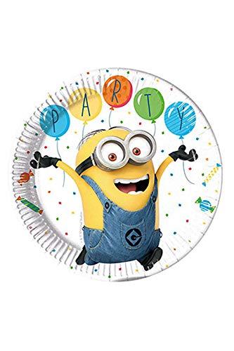 Procos 88173 Partygeschirr Minions Balloon, Teller, One Size