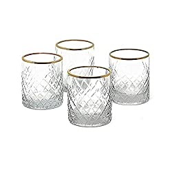 Amazon Com Serene Spaces Living Set Of 4 Etched Squares Glass Votive Holders With Gold Rim Ideal For Wedding Decorations Parties Events Measures 3 Tall And 2 5 Diameter Home Kitchen