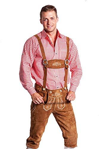 Frohsinn Tradicional pantalón bávaro para el Oktoberfest para hombres (la dimensión 56, Color: marrón claro) Lederhosen en largo o corto con tirantes Original Frohsinn