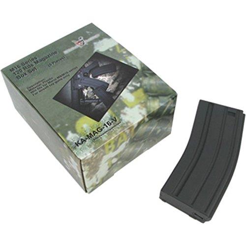 King Arms 120 BBS M4 Aeg Paquete de 5 Cargadores, Unisex Adulto, Negro, Talla Única