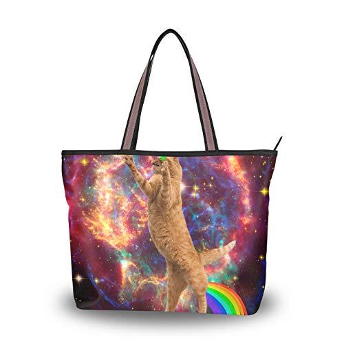 NaiiaN Sacs à main léger sangle espace Lazer arc-en-ciel chat sac à main Shopping pour femmes filles dames étudiant sac fourre-tout sacs à bandoulière