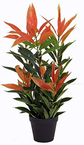 Yanka-style - Pasta artificiale lucida PHOTINIA con vaso, altezza ca. 60 cm, pianta artificiale, albero artificiale, decorazione regalo (JWL397-1)