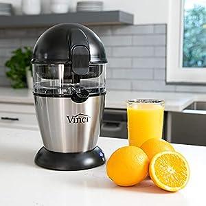 Vinci Hands-Free Electric Citrus Juicer   1-Button Easy Press Lemon Lime Orange Grapefruit Juice Squeezer Easy to Clean Juicer Machine, Black/Stainless Steel