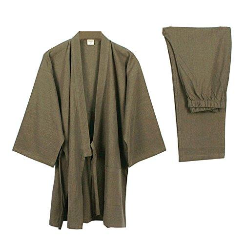 Elegante Estilo japonés de Las Mujeres de Manga Larga Trajes de algodón Kimono Traje de Pijama Suit Dressing Set- # A