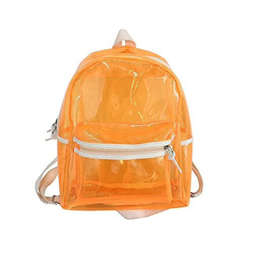 ORTUH Mochila escolar transparente con luz LED, transparente, impermeable, transparente, resistente, bolsa de libros de PVC para universidades, conciertos, camping, playa, viajes, naranja, 32x28cm