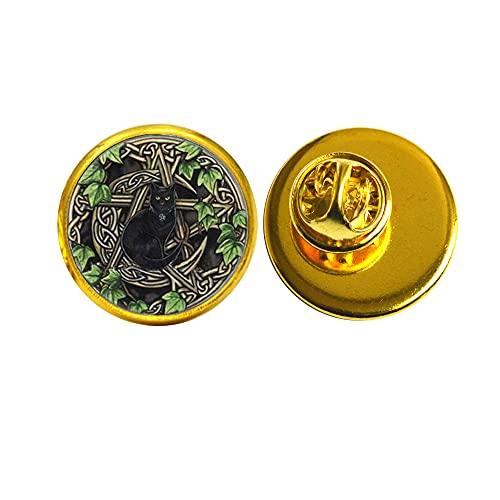 Broche de gato negro Wicca con diseño de cúpula de cristal para joyas de fotos, regalos para mujeres, broche redondo, PU130