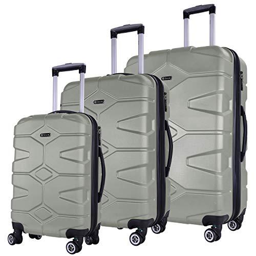 Shaik Serie RAZZER SH002 Design PMI Hartschalen Kofferset, Trolley, Koffer, Reisekoffer, 4 Doppelrollen, 25% mehr Volumen durch Dehnfalte (Champagner, 3er Set)