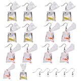 SUNNYCLUE DIY 6 Pairs 2 Colors Resin Goldfish Earrings Water Bag Shape Dangle Hook Earrings Funny Transparent Candy Bag Earrings Charm with Brass Earring Hooks for Earrings Jewelry Making DIY Finding