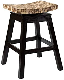 East At Main Carnation Black Coconut Shell Inlay Counter Stool, (17x17x24)