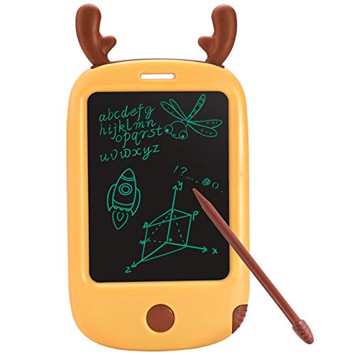 LCD Writing Tablets for Kids,Cartoon Drawing Board for Children,Portable and Compact 4.4 inch Pocket Learning Graffiti Board- Yellow Deer