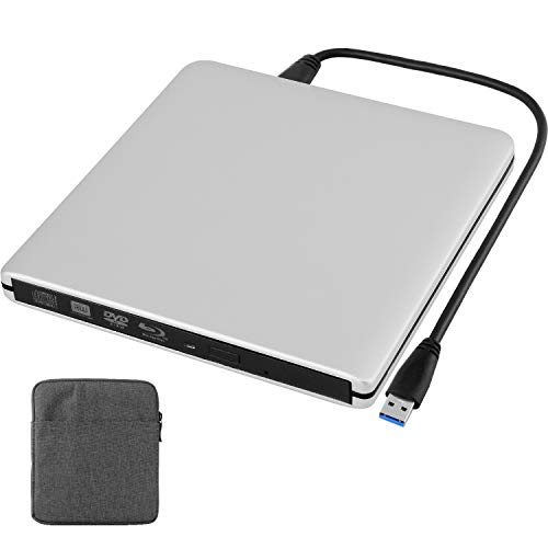Douper Blu Ray Externe CD DVD Laufwerk 4K 3D mit Tragetasche, USB 3.0 Blu Ray Player, Super Drive Slim Tragbar Reader Leser Disk für Alle Laptop Desktop, Windows 7/8/10 und Mac OS Linux