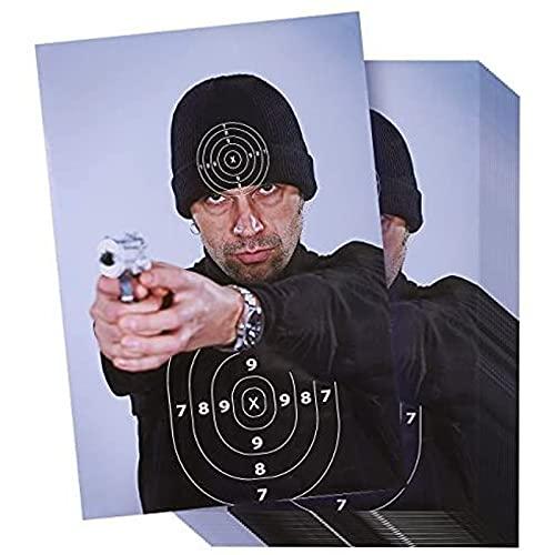 Bad Guy Range Targets in Street Thug Style (50 hojas), objetivos de tiro para armas de fuego, rifles, pistolas, pistolas BB y práctica de tiro de airsoft, 43,7 x 63,8 cm