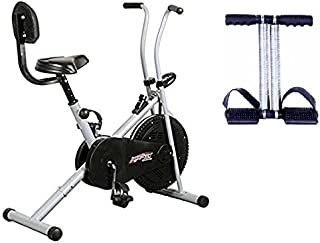 Healthex Exercise Cycle for Weight Loss at Home with Back Support || Air Bike 1001 with Bonus Tummy Trimmer for Home Use