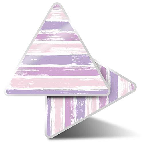 2 pegatinas triangulares de 7,5 cm, diseño de rayas horizontales, color morado pálido para portátiles, tabletas, equipaje, reserva de chatarra, neveras #45981