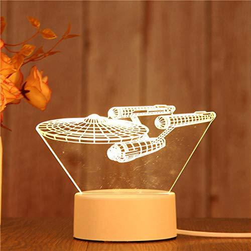 Stecker Modelle 3D Nachtlicht Geburtstagsgeschenk Quallenlampe führte dekorative Tischlampe Flutlicht Schlafzimmer Nachttischlampe Paar Geschenk-Raumschiff