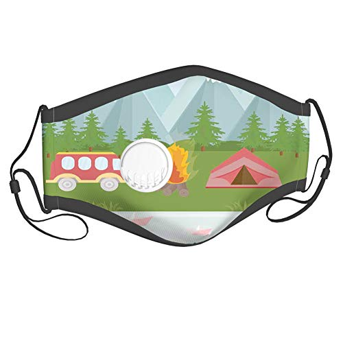 LLiopn Fashion3DPrintedFaceCover,Cartoon Tent Fire and Hippie Style Caravan in The Mountains Countryside Activities