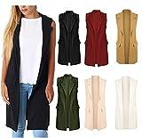 A&H Fashion Chaqueta sin mangas para mujer, con solapa de crepé y bolsillo WAISCOAT Duster Coat Blazer 8-22, Vino, 44
