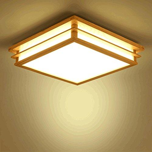 PIAOLING Plafonniers nordiques en bois massif, lampe de plafond carrée de chambre à coucher de salon simple économiseuse d'énergie de LED, abat-jour acrylique (Taille : S-45 * 45 * 10CM)