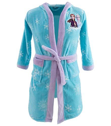 Disney Frozen Die Eiskönigin Mädchen Bademantel mit Kapuze (134-140, Hellblau)