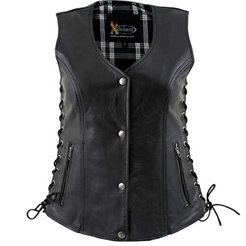Xelement XS4505 Ladies 'Flannel' Black Leather Vest with Snap Button Closure - 2X-Large