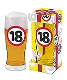Abc Casa Verre à bière 0,5 l avec panneau de signalisation 18e anniversaire imprimé pour tous les buveurs de bière. Une idée cadeau originale pour 18 ans dans une boîte cadeau