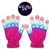 Guantes LED, 4 colores Guantes de luz LED para dedos Se iluminan con destellos Disfraces de Halloween Novedad Juguetes para espectáculo de luces Disco Hallowmas Prop Presente (edades 4-12)