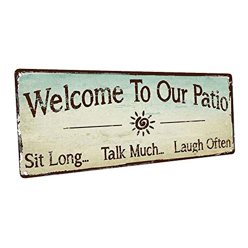 HBA Welcome to Our Patio 6 in. x 16 in. Metal Sign, Outdoor Living, Rustic Decor