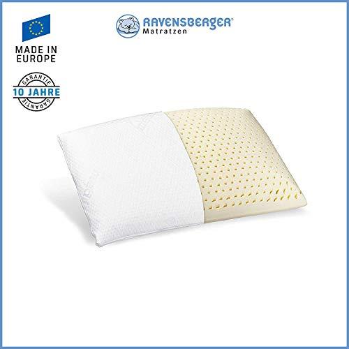 Ravensberger Matratzen® Natur Latex-Kissen 50% Naturkautschuk| Made IN Europe - 3 Jahre Garantie | MEDICORE silverline®-Bezug 40 x 80 cm