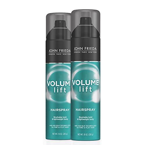 John Frieda Hairspray Volume Lift, for Fine or Flat Hair, Safe for Colour-Treated Hair, Volumizing Hair Nourishing Spray with Air-Silk Technology, 10 Ounces (Pack of 2),