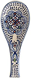 spoon holder Spoon Rest Ceramic Blue and white Hand crafted and Hand Painted Northern African Design .