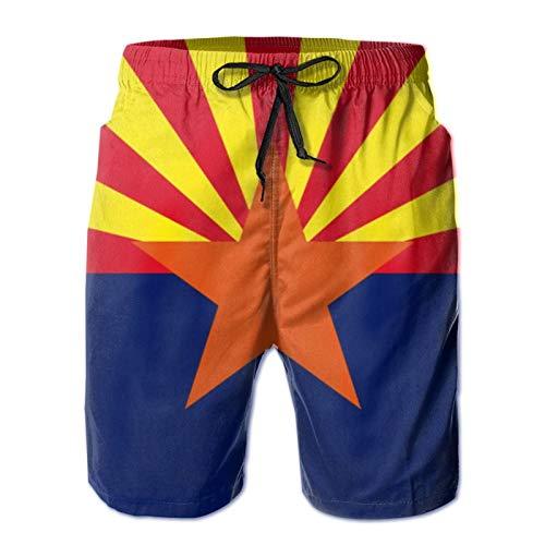 MayBlosom Pantalones cortos de playa para hombre, bandera del estado de Arizona, de verano, de secado rápido, pantalones cortos divertidos 3D, ropa de playa con cordón