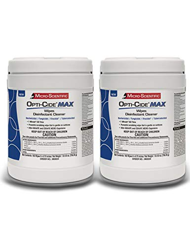 Micro-Scientific Opti-Cide Max Disinfecting Wipes (2 Pack) - 320 Wipes - Hospital Grade EPA Registered Disinfectant Cleaner