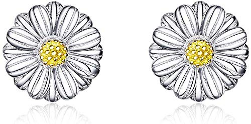 Gänseblümchen-Dame Earrings 925 Sterling Silver White Emaille Modeschmuck Ears 2019 Fashion