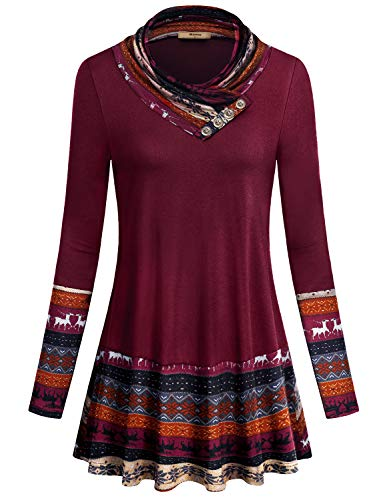 Miusey Long Tunic Tops for Women,Ladies 2xl Plus Size Loose Fitted Elastic Knitting Light Weight 2-Tone Raglan Sleeve Slouchy Casual Pullover Cotton Blend Sweatshirt Wine Red XXL