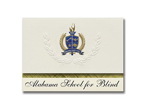 Signature Announcements Alabama School for Blind (Talladega, AL) Graduation Ankündigungen, 25 Stück, Gold & Blau Metallic Foliendichtung, 15,9 x 29 cm, Creme (PAC_BASICPres_HS25_100502_206044)