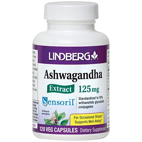 Lindberg Sensoril Ashwagandha Extract Vegetable Capsules - Standardized to 10% Withanolide Glycoside Conjugates (120 Capsules)