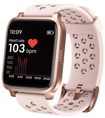 Montre connectée - Moniteur de fréquence cardiaque - Pour homme et femme - Bluetooth - Compteur de calories - Appels - SMS - Étanche - IOS - Android - Sport, Rose,