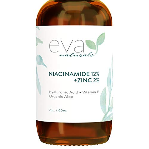 12% Niacinamide Serum for Face + Zinc PCA – Vitamin B3, 2% Zinc PCA and Hyaluronic Acid Serum Known to Even Skin Tone, Shrink Pores, Pump Fine Lines, Reduce Oil, and Hydrate by Eva Naturals, 2 Oz.