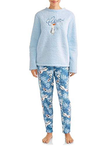 Disney Women's Frozen Olaf Chillin' Plush Fleece 2 Piece Pajama Sleep Set