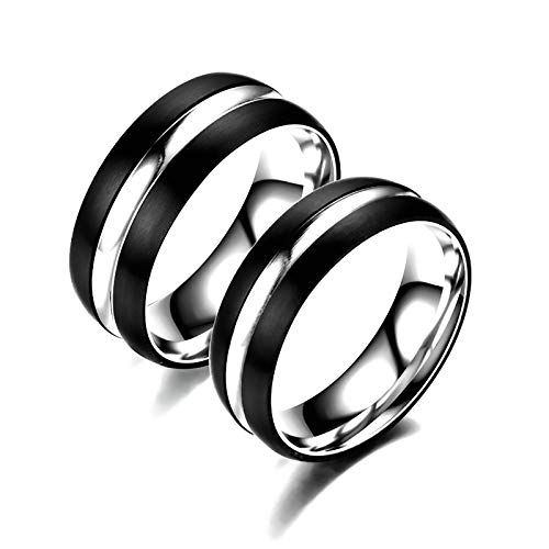 LONG-D Stainless Steel Ring Titanium Steel Couple Ring Bands Accessories, Gift for Girlfriend,B,9 =19 mm